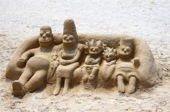 sand sculpture of the simpsons image